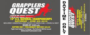 Daytime General Admission to Grapplers Quest US Nationals June 6th in Edison NJ